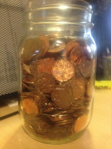 The penny jar as of January 15, 2013.